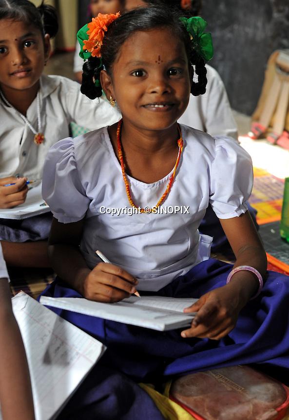 Children at the Valluvar Kalvi Nilayam Primary School in Salem, Tamil Nadu, India.