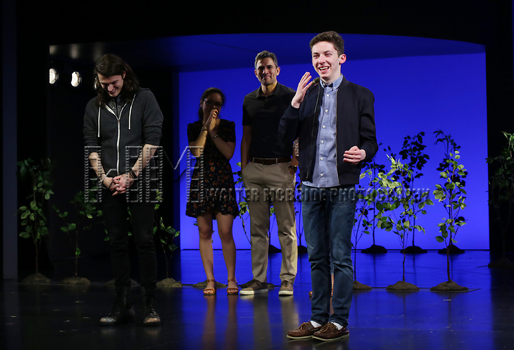 """Alex Boniello and Andrew Barth Feldman takes his final """"Dear Evan Hansen"""" bows and """"Passes the Polo"""" to Jordan Fisher at the Music Box Theatre on January 26, 2020 in New York City."""