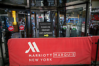 NEW YORK, NY - MAY 21: One of the entrance of the International Hotel Marriott Marquis remains closed during the outbreak of the COVID-19 pandemic on May 21, 2020 in New York City. United States have shuttered businesses like hotels, restaurants and retailers, pushing the economy into a deep recession, shedding more 20 million jobs and eliminating a decade's worth of growth, bringing the monthly unemployment rate. (Photo by Eduardo MunozAlvarez/VIEWpress)