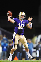 Sept. 5, 2009; Seattle, WA, USA; Washington Huskies quarterback (10) Jake Locker throws a pass in the first quarter against the LSU Tigers at Husky Stadium. Mandatory Credit: Mark J. Rebilas-