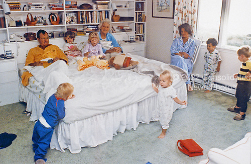 United States Vice President George H.W. Bush and Mrs. Barbara Bush enjoy some early morning fun with their grandchildren (l to r: Pierce, Barbara, Jenna, Marshall, Margaret Bush, Jeb Jr., and Sam), at Walker's Point, Kennebunkport, Maine on August 22, 1987<br /> Mandatory Credit: David Valdez / White House via CNP