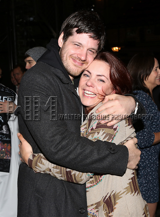 Michael Esper and Rachel Tucker during the Broadway Opening Night Gypsy Robe Ceremony Celebrating Jeremy Davis for 'The Last Ship' at the Neil Simon Theatre on October 26, 2014 in New York City.