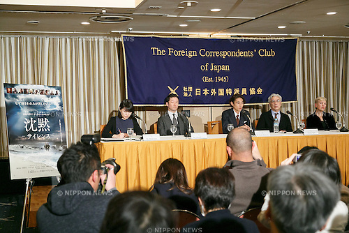 Tadanobu Asano (second left), Yosuke Kubozuka (centre) and Issey Ogata (second right), cast of the film SILENCE (Chinmoku) attend a press conference at the Foreign Correspondents' Club of Japan on January 12, 2017, Tokyo, Japan. The Japanese cast of the film attended the news conference after a special screening function at Kadokawa Cinema in Yurakucho. The film is directed by Martin Scorsese and hits Japanese theaters on January 21. (Photo by Rodrigo Reyes Marin/AFLO)