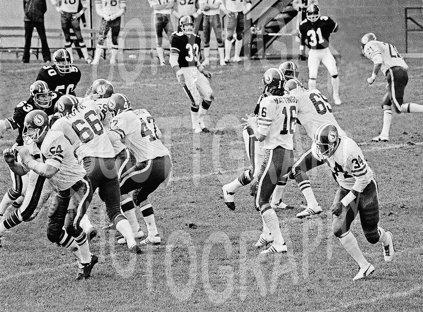 Saskatchewan Roughriders play the Ottawa Rough Riders in 1974. Copyright photograph Scott Grant