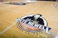 Pete Newell Classic logo is pictured on the floor during the game against UCLA at Haas Pavilion in Berkeley, California on February 14th, 2013.   California defeated UCLA, 77-63.