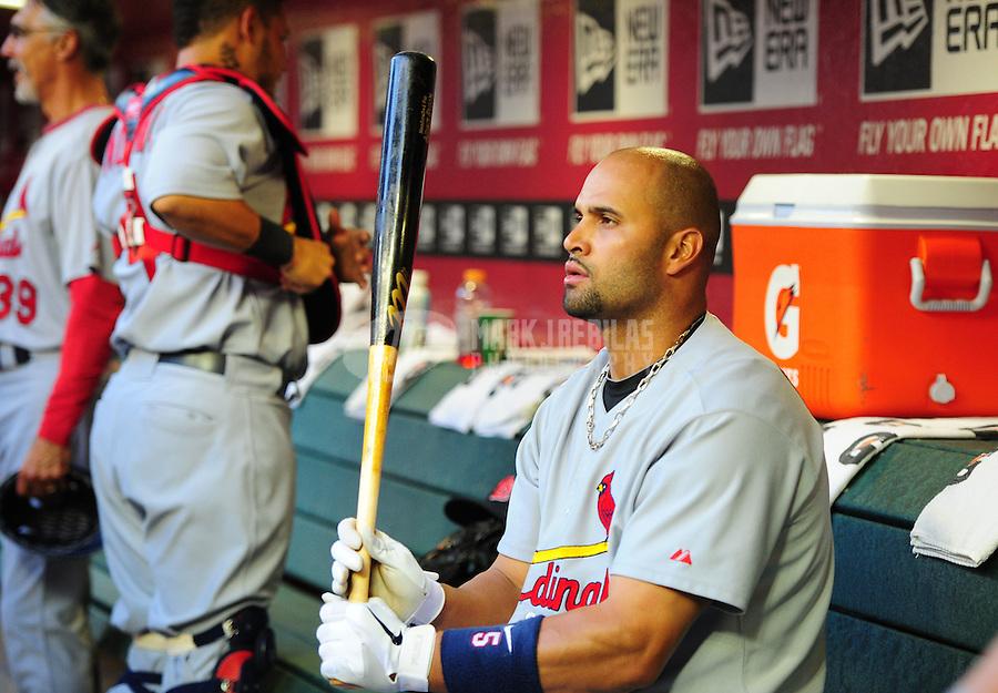 Apr. 11, 2011; Phoenix, AZ, USA; St. Louis Cardinals first baseman Albert Pujols in the first inning against the Arizona Diamondbacks at Chase Field. Mandatory Credit: Mark J. Rebilas-