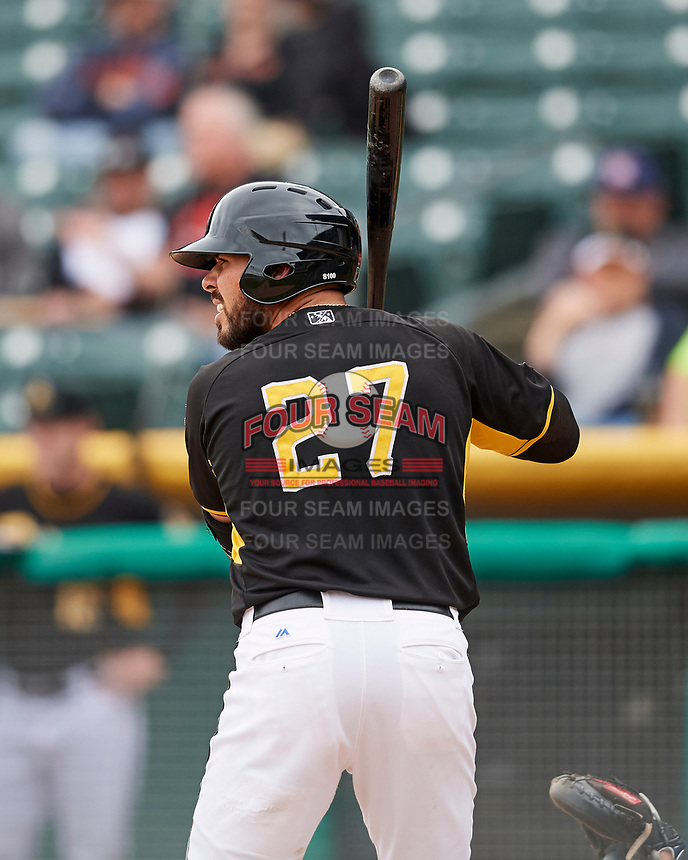 Tony Sanchez (27) of the Salt Lake Bees at bat against the El Paso Chihuahuas in Pacific Coast League action at Smith's Ballpark on April 30, 2017 in Salt Lake City, Utah. El Paso defeated Salt Lake 12-3. This was Game 2 of a double-header originally scheduled on April 28, 2017. (Stephen Smith/Four Seam Images)