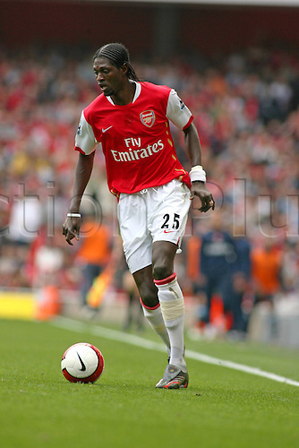 7 April 2007: Arsenal striker Emmanuel Adebayor with the ball during the Premiership game between Arsenal and West Ham United, played at The Emirates Stadium. West Ham won the match 1-0. Photo: Actionplus....070407 football soccer player
