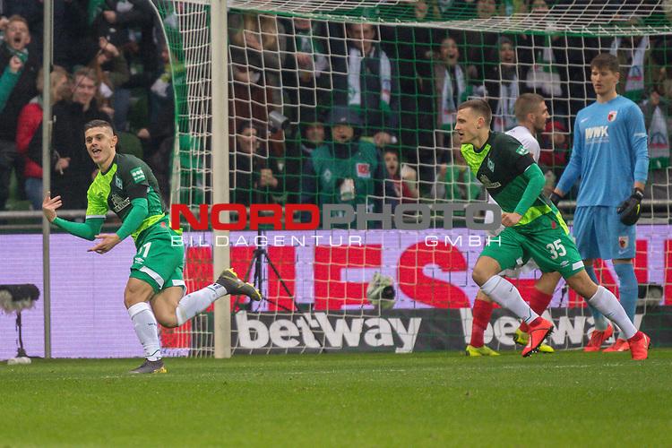 10.02.2019, Weser Stadion, Bremen, GER, 1.FBL, Werder Bremen vs FC Augsburg, <br /> <br /> DFL REGULATIONS PROHIBIT ANY USE OF PHOTOGRAPHS AS IMAGE SEQUENCES AND/OR QUASI-VIDEO.<br /> <br />  im Bild<br /> <br /> 1:0 Milot Rashica (Werder Bremen #11) gegen Gregor Kobel (FC Augsburg #40)<br /> <br /> Maximilian Eggestein (Werder Bremen #35)<br /> <br /> jubel <br /> Foto © nordphoto / Kokenge
