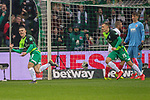 10.02.2019, Weser Stadion, Bremen, GER, 1.FBL, Werder Bremen vs FC Augsburg, <br /> <br /> DFL REGULATIONS PROHIBIT ANY USE OF PHOTOGRAPHS AS IMAGE SEQUENCES AND/OR QUASI-VIDEO.<br /> <br />  im Bild<br /> <br /> 1:0 Milot Rashica (Werder Bremen #11) gegen Gregor Kobel (FC Augsburg #40)<br /> <br /> Maximilian Eggestein (Werder Bremen #35)<br /> <br /> jubel <br /> Foto © nordphoto / Kokenge