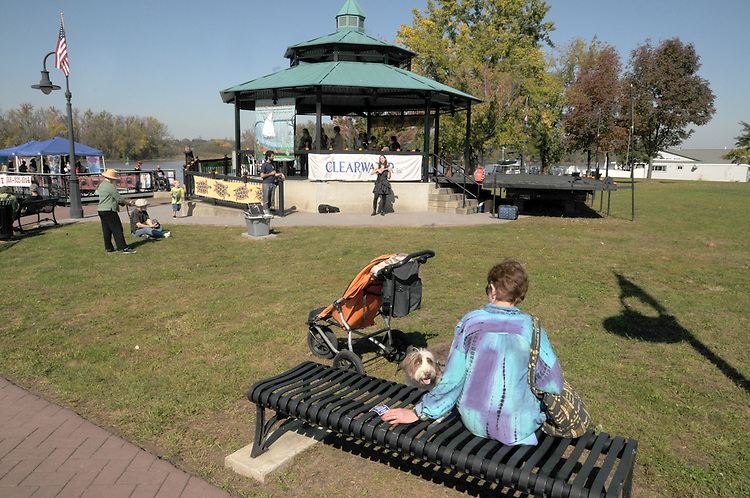 Overview of the bandstand area at the Sloop Clearwater Pumpkin Sale Festival in Hudson, NY on Monday, October 10, 2011. Photo by Jim Peppler. Copyright Jim Peppler/2011.