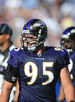Sep. 20, 2009; San Diego, CA, USA; Baltimore Ravens linebacker (95) Jarret Johnson against the San Diego Chargers at Qualcomm Stadium in San Diego. Baltimore defeated San Diego 31-26. Mandatory Credit: Mark J. Rebilas-