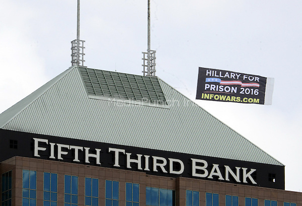 Anti-Hillary sign flies near the Quicken Loans Arena, site of the 2016 Republican National Convention on Saturday, July 16, 2016.<br /> Credit: Ron Sachs / CNP/MediaPunch<br /> (RESTRICTION: NO New York or New Jersey Newspapers or newspapers within a 75 mile radius of New York City)