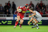 Matt Gilbert of Scarlets charges upfield during the LV= Cup first round match between Scarlets and Leicester Tigers at Parc y Scarlets (Photo by Rob Munro, Fotosports International)