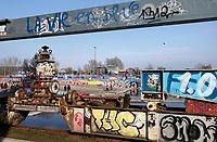 Nederland - Amsterdam - 24 maart 2018.  Graffiti op de NDSM-Werf.  Foto Berlinda van Dam Hollandse Hoogte