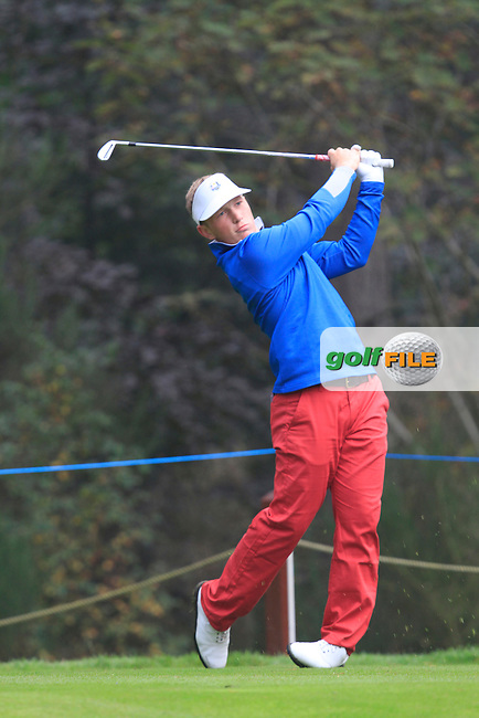 Brad Dalke (USA) on the 3rd tee during Monday's Morning Foursomes Match 1 of the 2014 JUNIOR RYDER CUP at the Blairgowrie Golf Club, Perthshire, Scotland. <br /> Picture:  Thos Caffrey / www.golffile.ie