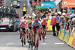 Nils Politt (GER) Team Katusha Alpecin finally leads the Yellow Jersey group to the finish line over a minute down on the favourites group at the end of Stage 2 of the Criterium du Dauphine 2019, running 180km from Mauriac to Craponne-sur-Arzon, France. 9th June 2019<br /> Picture: Colin Flockton | Cyclefile<br /> All photos usage must carry mandatory copyright credit (© Cyclefile | Colin Flockton)