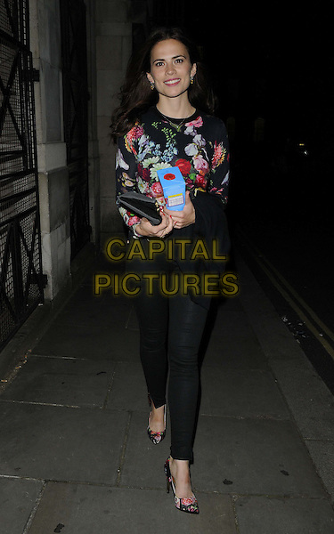 Hayley Atwell<br /> departed after the evening performance of &quot;The Pride&quot;, Trafalgar Studios, Whitehall, London, England.<br /> August 12th, 2013<br /> full length red white pink floral print top leggings <br /> CAP/CAN<br /> &copy;Can Nguyen/Capital Pictures
