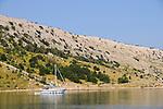 Bucht nahe Voz, Bay near Voz. Krk Island, Dalmatia, Croatia. Insel Krk, Dalmatien, Kroatien. Krk is a Croatian island in the northern Adriatic Sea, located near Rijeka in the Bay of Kvarner and part of the Primorje-Gorski Kotar county. Krk ist mit 405,22 qkm nach Cres die zweitgroesste Insel in der Adria. Sie gehoert zu Kroatien und liegt in der Kvarner-Bucht suedoestlich von Rijeka.