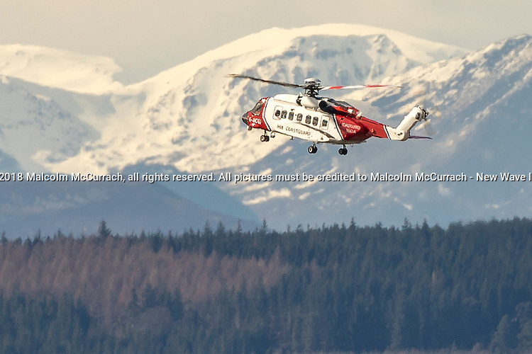 HM Coastguard search and rescue helicopter lands at Raigmore Hospital in Inverness.<br /> <br /> Pictured: HM Coastguard, Sikorsky S92 helicopter, G-MCGF, Rescue 951, based at Inverness Dalcross Airport<br /> <br /> Image by: Malcolm McCurrach<br /> Thu, 5, April, 2018 |  &copy; Malcolm McCurrach 2018 |  New Wave Images UK | Insertion and use fees apply |  All rights Reserved. picturedesk@nwimages.co.uk | www.nwimages.co.uk | 07743 719366 <br /> <br /> | Press Photographer | Corporate Photographer | Event Photographer | PR Photographer