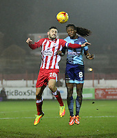 captain Seamus Conneely of Accrington Stanley and Marcus Bean of Wycombe Wanderers heads up <br /> during the Sky Bet League 2 match between Accrington Stanley and Wycombe Wanderers at the wham stadium, Accrington, England on 28 February 2017. Photo by Tony  KIPAX.