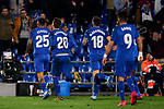 Players of Getafe FC celebrate goal during UEFA Europa League match between Getafe CF and AFC Ajax at Coliseum Alfonso Perez in Getafe, Spain. February 20, 2020. (ALTERPHOTOS/A. Perez Meca)