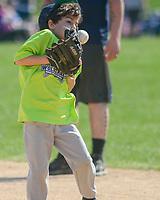 Warrington Little League members play baseball and softball Saturday, April 14, 2018 at Barness Field in Warrington, Pennsylvania. (Photo by William Thomas Cain/Cain Images)