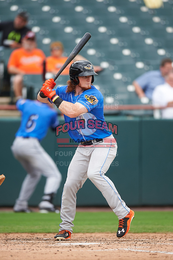 Akron RubberDucks left fielder Clint Frazier (4) at bat during the first game of a doubleheader against the Bowie Baysox on June 5, 2016 at Prince George's Stadium in Bowie, Maryland.  Bowie defeated Akron 6-0.  (Mike Janes/Four Seam Images)