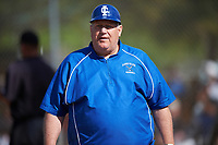 Illinois College Blueboys head coach Jay Eckhouse during a game against the Edgewood Eagles on March 14, 2017 at Terry Park in Fort Myers, Florida.  Edgewood defeated Illinois College 11-2.  (Mike Janes/Four Seam Images)