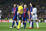 UEFA Champions League 2017/2018.<br /> Round of 16 2nd leg.<br /> FC Barcelona vs Chelsea FC: 3-0.<br /> Luis Suarez, Damir Skomina, Andres Iniesta, Sergio Busquets &amp; Willian.