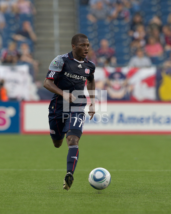 New England Revolution midfielder Sainey Nyassi (17) brings the ball forward. The Chicago Fire defeated the New England Revolution, 1-0, at Gillette Stadium on June 27, 2010.