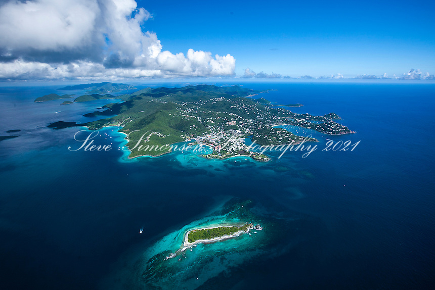 Aerial view of St. John from the west<br /> Stevens Cay in the foreground<br /> U.S. Virgin Islands