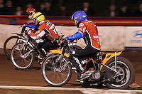 Heat 8: Lewis Bridger (red), Billy Forsberg (yellow) and Kauko Nieminen (blue) - Lakeside Hammers vs Belle Vue Aces at The Arena Essex Raceway, Lakeside - 10/09/08 - MANDATORY CREDIT: Rob Newell/TGSPHOTO