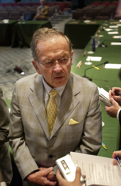 6/22/04.SENATE APPROPRIATIONS/DEFENSE--Senate Appropriations Chairman Ted Stevens, R-Alaska, talks to reporters after the markup..CONGRESSIONAL QUARTERLY PHOTO BY SCOTT J. FERRELL