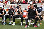 09 August 2014: DC head coach Ben Olsen (center) with assistant coaches Enzo Concina (ENG) (left) and Chad Ashton (right). Real Salt Lake hosted DC United at Rio Tinto Stadium in Sandy, Utah in a 2014 Major League Soccer regular season game. Salt Lake won the game 3-0.