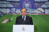 Real Madrid´s President Florentino Perez during Brazil international soccer player Lucas Silva´s official presentation at the Santiago Bernabeu stadium in Madrid, Spain. May 26, 2013. (ALTERPHOTOS/Victor Blanco)