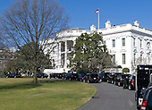 The motorcade that will take United States President Barack Obama to Fire Station #5 in Arlington, Virginia is staged in front of the South Portico of the White House in Washington, D.C. on Friday, February 3, 2012..Credit: Ron Sachs / Pool via CNP