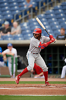 Philadelphia Phillies center fielder Roman Quinn (46), on rehab assignment with the Clearwater Threshers, at bat during a Florida State League game against the Dunedin Blue Jays on April 4, 2019 at Spectrum Field in Clearwater, Florida.  Dunedin defeated Clearwater 11-1.  (Mike Janes/Four Seam Images)