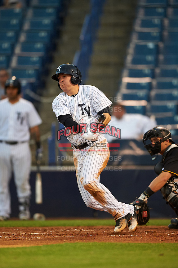 Tampa Yankees second baseman Billy Fleming (28) at bat during a game against the Bradenton Marauders on April 11, 2016 at George M. Steinbrenner Field in Tampa, Florida.  Tampa defeated Bradenton 5-2.  (Mike Janes/Four Seam Images)