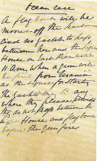 The hand-written Start Instructions for 1860