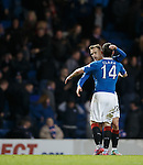 Dean Shiels scores goal no 3 for Rangers on the stroke of full-time and celebrates with Nicky Clark