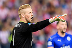 Goalkeeper Kasper Schmeichel of Leicester City reacts during their 2016-17 UEFA Champions League Quarter-Finals 1st leg match between Atletico de Madrid and Leicester City at the Estadio Vicente Calderon on 12 April 2017 in Madrid, Spain. Photo by Diego Gonzalez Souto / Power Sport Images