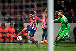 Angel Correa of Atletico de Madrid shoots as goalkeeper Stephan Andersen of FC Copenhague tries to stop him during the UEFA Europa League 2017-18 Round of 32 (2nd leg) match between Atletico de Madrid and FC Copenhague at Wanda Metropolitano  on February 22 2018 in Madrid, Spain. Photo by Diego Souto / Power Sport Images