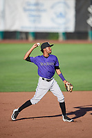 Cristopher Navarro (7) of the Grand Junction Rockies throws to first base during a game against the Ogden Raptors at Lindquist Field on September 7, 2018 in Ogden, Utah. The Rockies defeated the Raptors 8-5. (Stephen Smith/Four Seam Images)