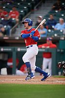 Buffalo Bisons Patrick Kivlehan (14) at bat during an International League game against the Norfolk Tides on June 21, 2019 at Sahlen Field in Buffalo, New York.  Buffalo defeated Norfolk 1-0, the second game of a doubleheader.  (Mike Janes/Four Seam Images)