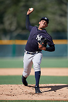 GCL Yankees West starting pitcher Leonardo Pestana (48) delivers a pitch during a game against the GCL Pirates on August 2, 2018 at Pirate City Complex in Bradenton, Florida.  GCL Pirates defeated GCL Yankees West 6-2.  (Mike Janes/Four Seam Images)