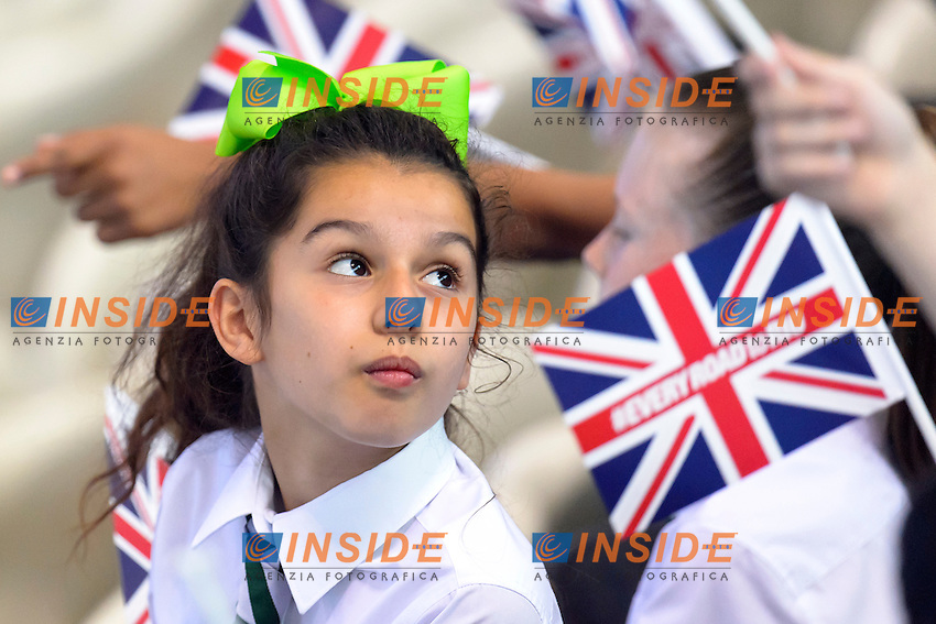 CHILDREN with flags <br /> <br /> London, Queen Elizabeth II Olympic Park Pool <br /> LEN 2016 European Aquatics Elite Championships <br /> Swimming<br /> Day 10 18-05-2016<br /> Photo Andrea Staccioli/Deepbluemedia/Insidefoto