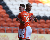 Blackpool's Jordan Thompson celebrates scoring the opening goal with team-mate Nathan Delfouneso<br /> <br /> Photographer Stephen White/CameraSport<br /> <br /> The EFL Sky Bet League One - Blackpool v Rochdale - Saturday 6th October 2018 - Bloomfield Road - Blackpool<br /> <br /> World Copyright &copy; 2018 CameraSport. All rights reserved. 43 Linden Ave. Countesthorpe. Leicester. England. LE8 5PG - Tel: +44 (0) 116 277 4147 - admin@camerasport.com - www.camerasport.com