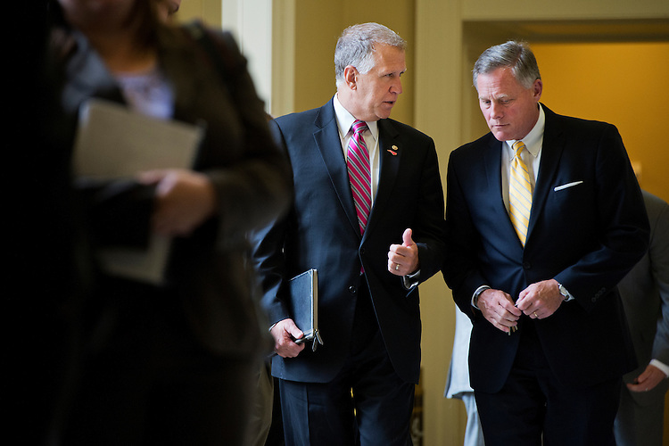 UNITED STATES - JULY 8: Sens. Thom Tillis, R-N.C., left, and Richard Burr, R-N.C., leave the Senate Policy luncheons in the Capitol, July 8, 2015. (Photo By Tom Williams/CQ Roll Call)