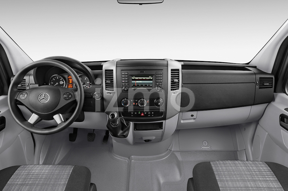 Stock photo of straight dashboard view of 2016 Mercedes Benz Sprinter-Cargo-Van 2500-144-WB-High-Roof 4 Door Cargo Van Dashboard